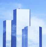 blue sky skyscrapers